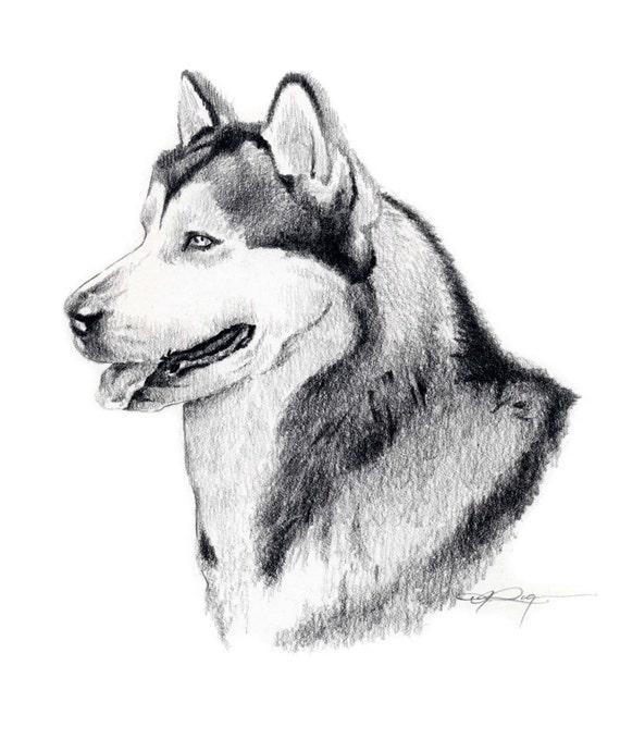 Siberian Husky Art Print Sepia Watercolor Painting by Artist DJR