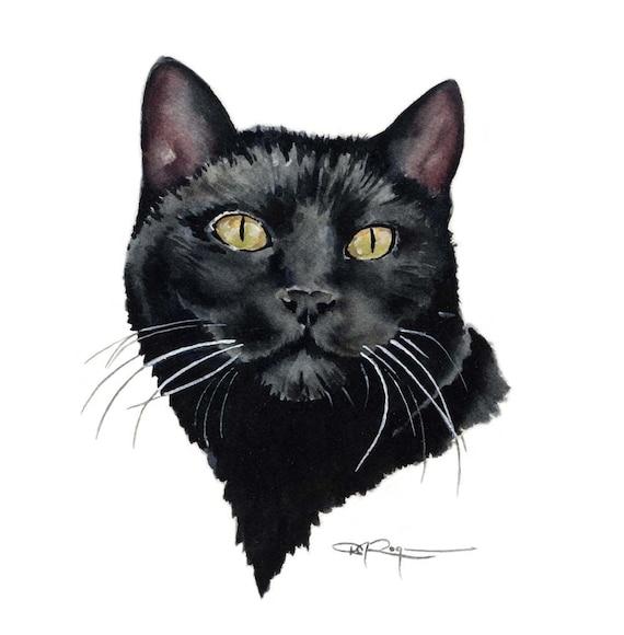 Black Cat Art Print Sepia Watercolor 11 x 14 by Artist DJR