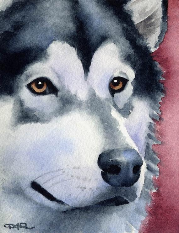 Alaskan Malamute Puppy Art Print 11 x 14 Watercolor  by Artist DJR