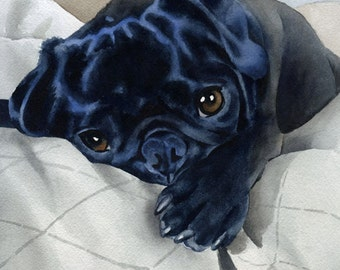 BLACK PUG Puppy Art Print Signed by Artist DJ Rogers