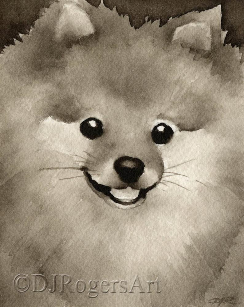 Pit Bull Terrier Puppy Art Print Sepia Watercolor 11 x 14 by Artist DJR