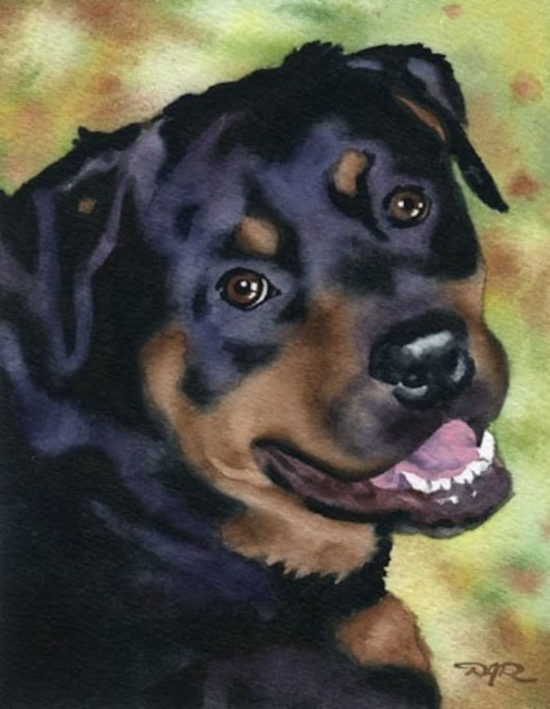 ROTTWEILER Art Print Watercolor by Artist DJ Rogers image 0