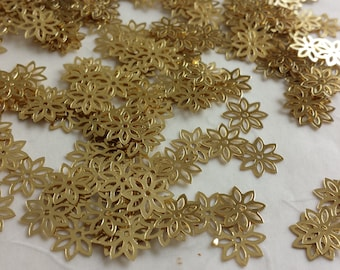 New Item -- 7g of 9x9 mm Clematis Flower Sequins in Gold Color
