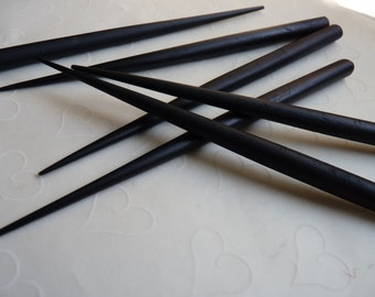 10 pieces ( 5 pairs ) of BLACK Dyed Wood Hair stick - 6 inches long
