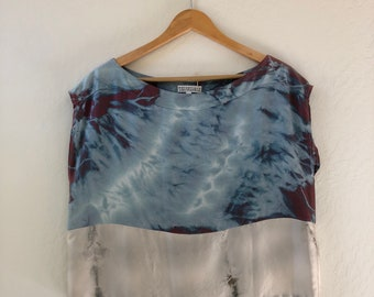 Silk Top - blue shibori with grey panel