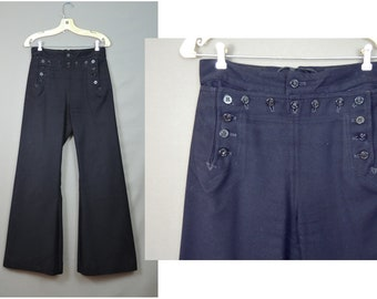Vintage US Navy Sailor Wool Pants 29 waist, Wide Legs with Buttons 1960s