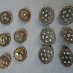 Lot of Victorian Cut Steel Buttons, 2 styles, 12 buttons, 1800s Antique