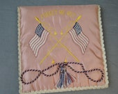 Vintage Silk Hankie Bag, WWII Forget Me Not, Soldier to Sweetheart gift, unused, Embroidered US Flags