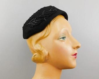 Vintage Beaded Leaves Black Felt Hat 1950s, fits 22 inch head