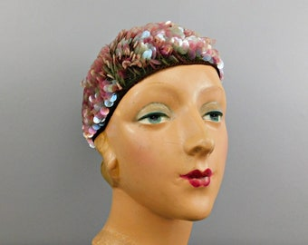 Vintage Pink Sequin Spangles Knit Hat, made in Italy 1950s