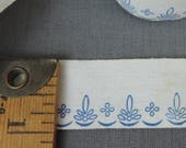 5 Yards Vintage Printed Floral Trim, Cotton Ribbon, 1 inch wide, Blue on white