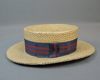 Vintage Men's Straw Hat size 7-1/8 Early 1900s to 1920s, Skimmer Boater Damaged As Is