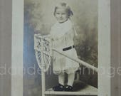 Antique Cabinet Photo, Child on Wicker Chair Edwardian 8x6 inches, early 1900s, Vintage Black White