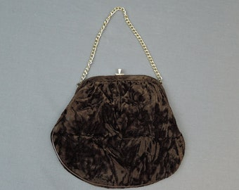 Vintage Crushed Velvet Purse, 1960s brown Evening Handbag 7x7 inches