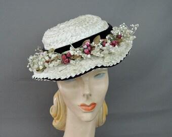 Vintage 1940s Floral Straw Hat, Tilt Hat White with Black Velvet