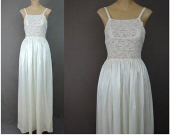 Vintage Long White Rayon Full Slip, 32 bust 1940s, Lace Bodice Floor Length Gown Satin Slip, Wedding, Bride