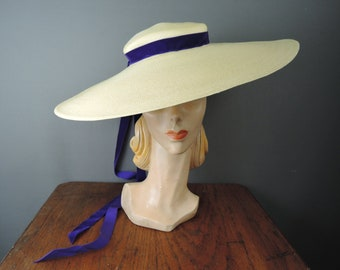 size Small  22 1940s Stetson Navy Straw Hat with Velvet Bow .......
