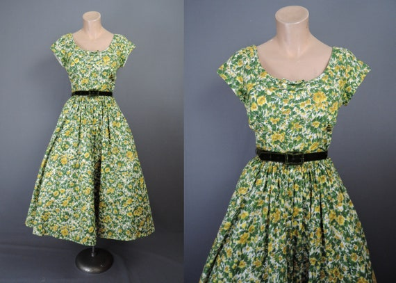 Vintage 1950s Floral Dress Yellow 35 inch bust, Je