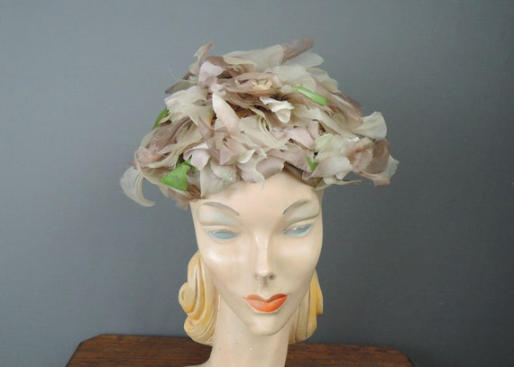 Vintage Taupe Floral Hat 1960s Evelyn Varon Dusty
