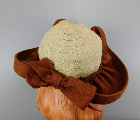 Vintage 1940s Straw & Wool Felt Hat with Wide Wav… - image 7