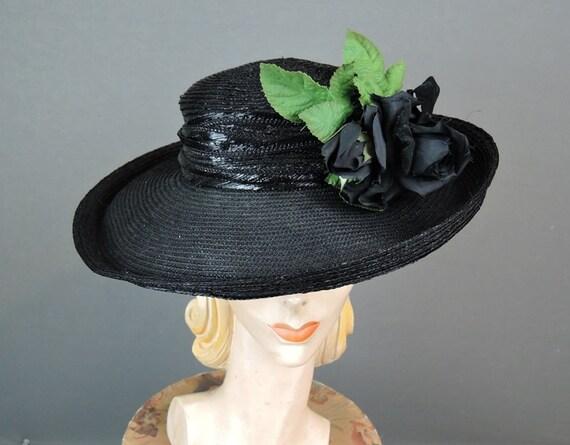 Vintage Black Straw Hat 1950s Wide Brimmed and Huge Rose 21  83d716ca9aad