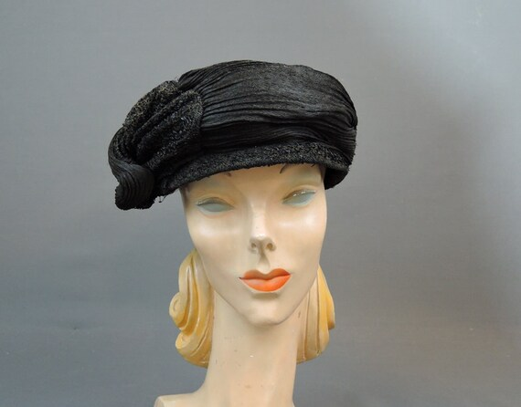 Vintage 1910s 1920s Hat Black Straw Fabric, As Is