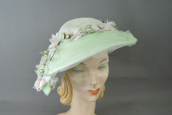 Vintage Light Green Floral Tulle Hat, Wide Brim 19