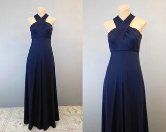 Vintage 1970s Evening Gown, Disco Cross Neck Navy, fits 34 inch bust Joan Leslie by Kasper