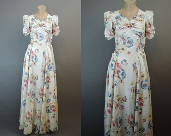 Vintage 1940s Floral Gown, 34 bust, Rayon Taffeta Dress, some issues