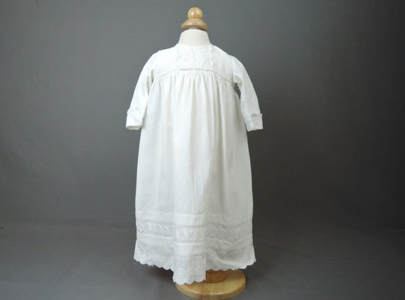 Antique Baby Dress Victorian Embroidered White Cot
