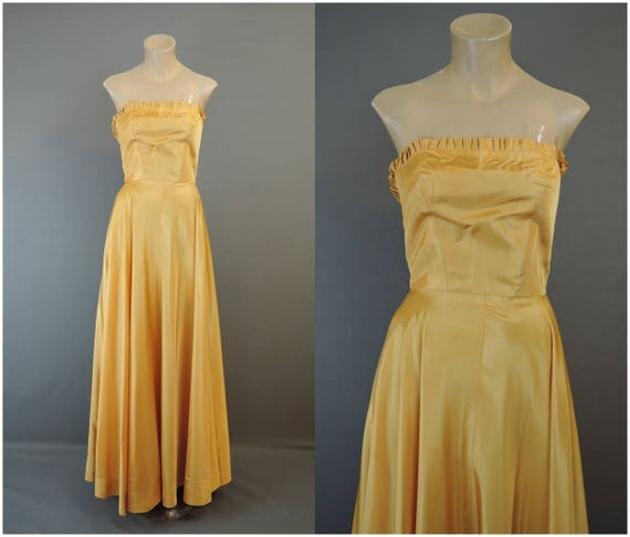 Vintage Gold Strapless Gown or Slip 1940s