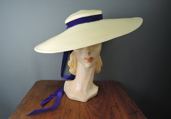 Vintage 1940s Wide Brim Straw Hat Large 18 inches