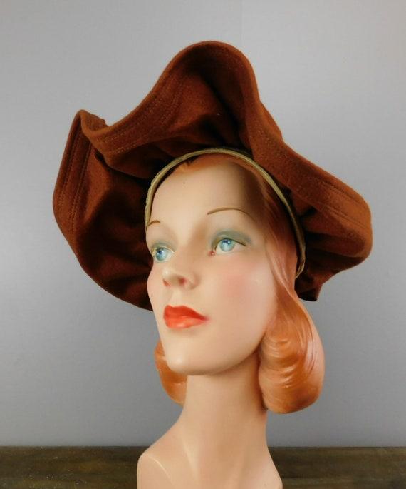 Vintage 1940s Straw & Wool Felt Hat with Wide Wav… - image 9