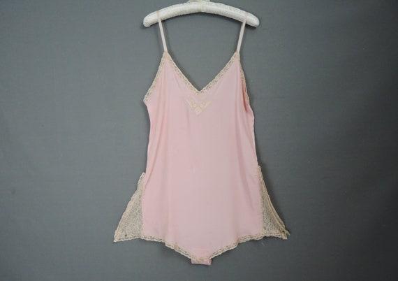 Vintage 1930s Pink Rayon Teddy, Step in Chemise, u