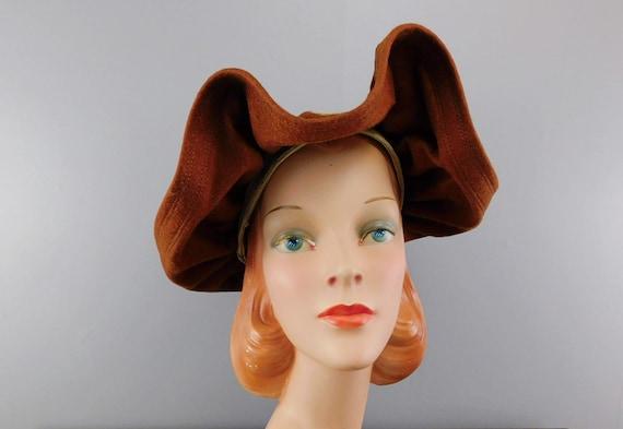 Vintage 1940s Straw & Wool Felt Hat with Wide Wav… - image 3
