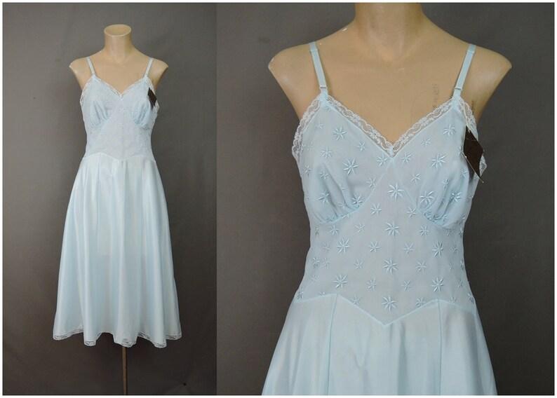 279d5ab1512 Vintage 1950s Blue Full Slip 34 bust Unworn with Tags
