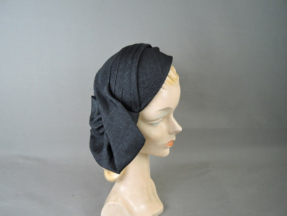 Vintage Black Straw Hat, 1950s Skull Cap with Drap