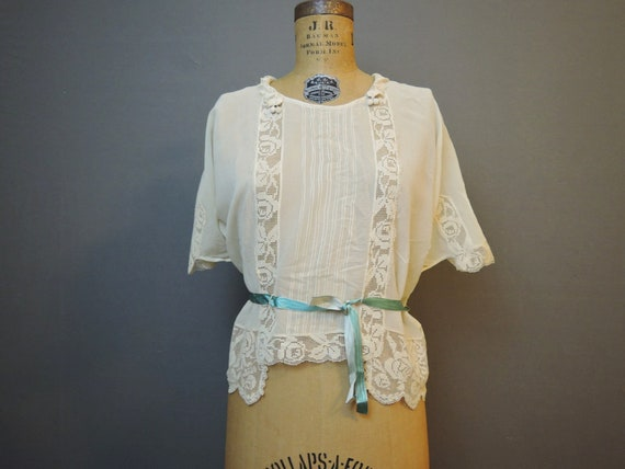 Antique 1900s Edwardian Blouse, Sheer Gauze & Lace