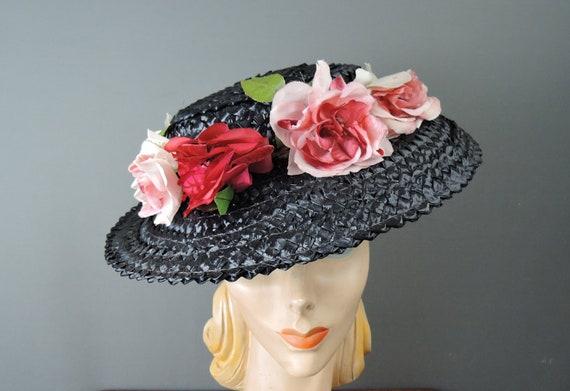 Vintage Pink Floral Black Straw Hat Wide Brim 1950