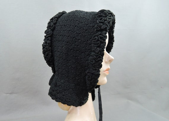 Antique Victorian Bonnet Black Knitted Wool, 1800s