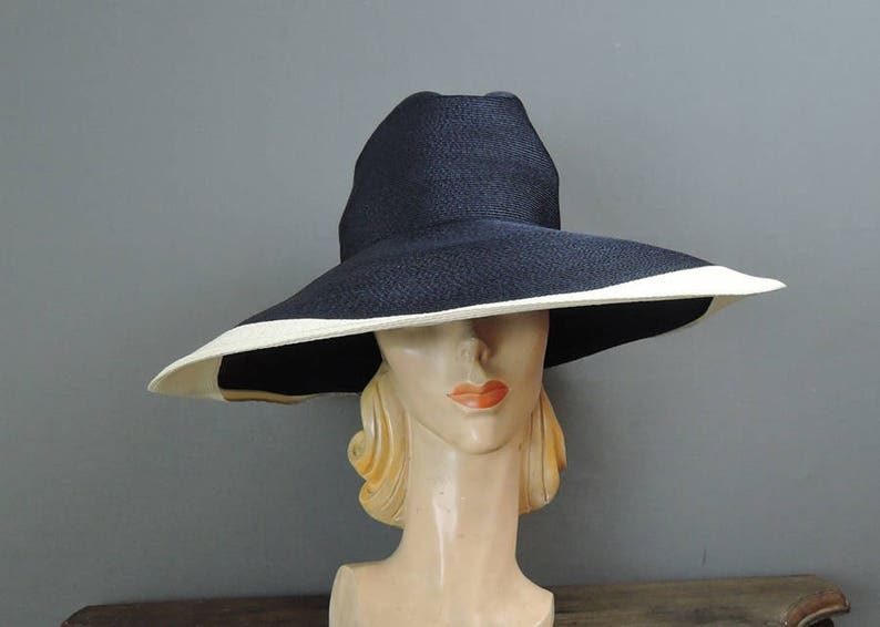 c3215b3fdc3cc Vintage Hat Wide Brimmed Navy   White Straw Huge 18 inches