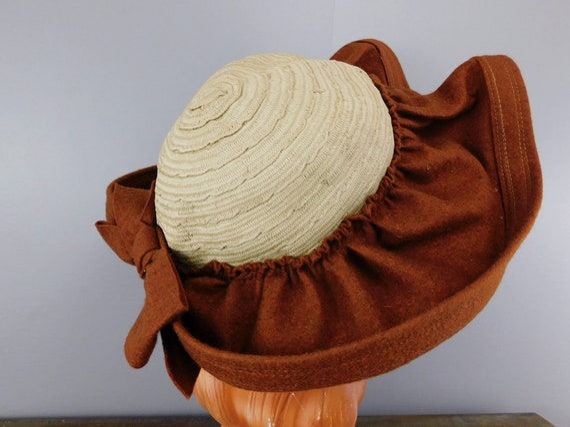 Vintage 1940s Straw & Wool Felt Hat with Wide Wav… - image 5