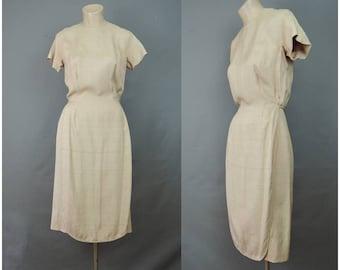 Vintage Tan Dress with Panel, 34 bust, Simple 1950s 1960s Secretary Work Sheath