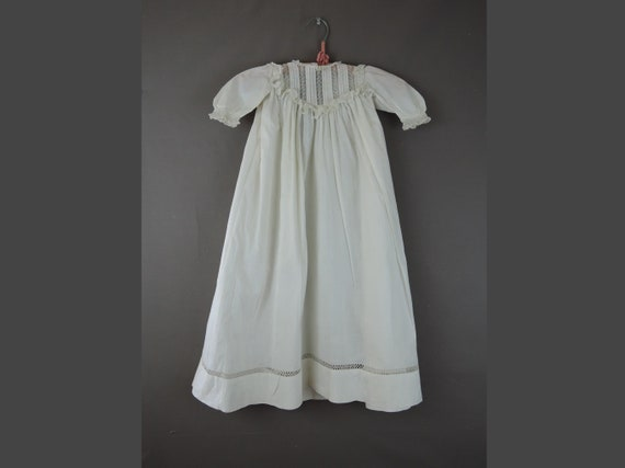 Antique Baby Dress with Lace, Victorian White Cott