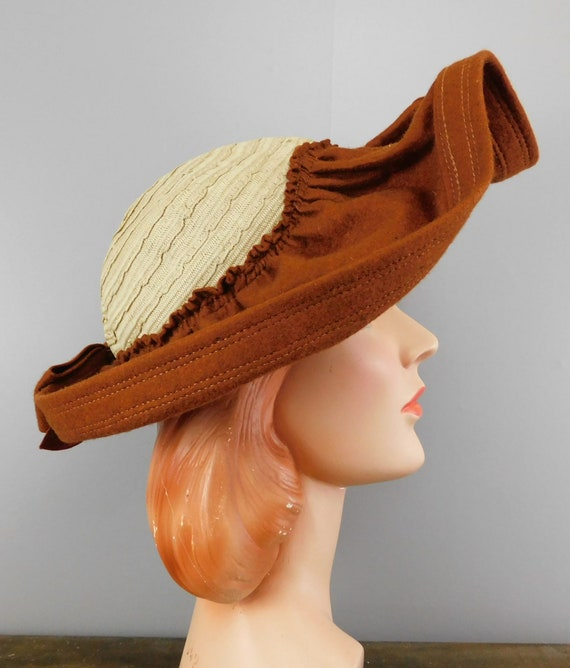 Vintage 1940s Straw & Wool Felt Hat with Wide Wav… - image 2