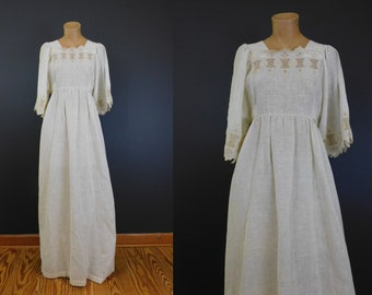 Vintage Embroidered Peasant Hippie Maxi Dress, Gilead Loungewear, 38 bust  1970s