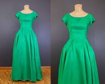 Vintage Green Taffeta Evening Gown, 34 inch bust, 1950s 1960s