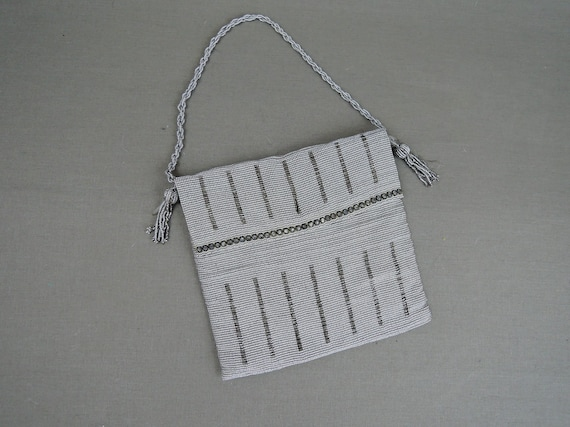 Vintage Antique Silver Beaded Purse 1920s with Rhi