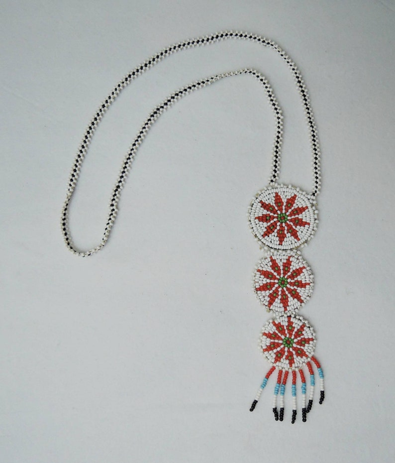 Native American Hand Made Souvenir with leather back Vintage Beaded Necklace