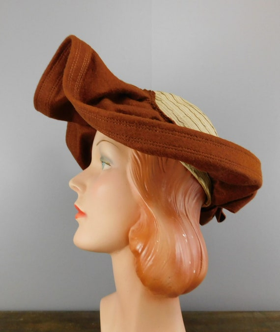 Vintage 1940s Straw & Wool Felt Hat with Wide Wav… - image 8